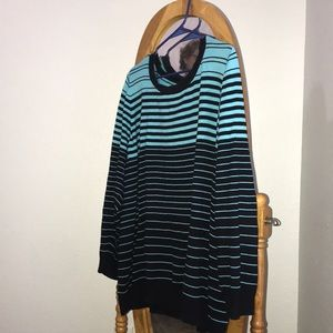 Blue and black striped sweater